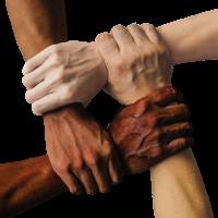 Hände verschiedener Hautfarbe halten einander fest