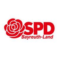 Logo des SPD Kreisverbandes Bayreuth Land. Rote Rose auf weißem Grund