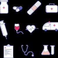 Grafik mit verschiedenen medizinischen Symbolen