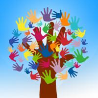 Baum mit bunten Blättern aus Händen als Ziechen der Solidarität